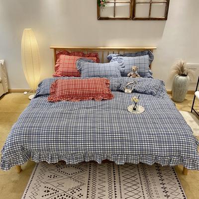 2020新款-全棉色织水洗棉名宿风四件套-实拍图2(汐颜系列) 床单款四件套1.5m(5英尺)床 薄雾蓝