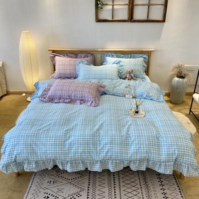 2020新款-全棉色织水洗棉名宿风四件套-实拍图2(汐颜系列) 床单款四件套1.5m(5英尺)床 冰川蓝