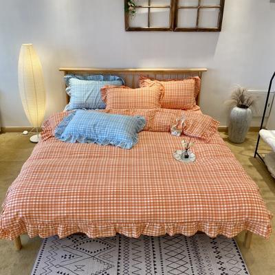 2020新款-全棉色织水洗棉名宿风四件套-实拍图2(汐颜系列) 床单款三件套1.2m(4英尺)床 奶油桔