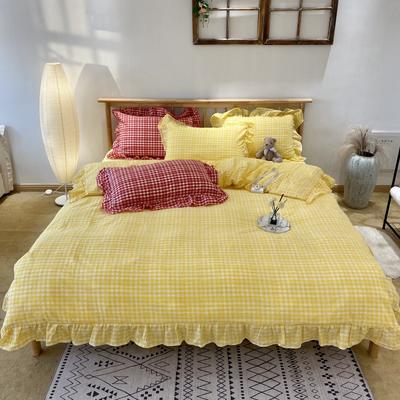 2020新款-全棉色织水洗棉名宿风四件套-实拍图2(汐颜系列) 床单款三件套1.2m(4英尺)床 柠檬黄