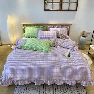 2020新款-全棉色织水洗棉名宿风四件套-实拍图2(汐颜系列) 床单款三件套1.2m(4英尺)床 薰衣紫