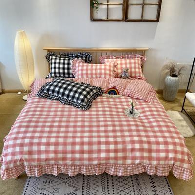 2020新款-全棉色织水洗棉名宿风四件套-实拍图2(詹妮系列) 床单款四件套1.5m(5英尺)床 詹妮-粉