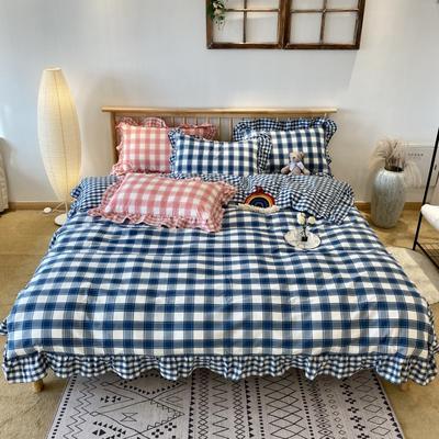 2020新款-全棉色织水洗棉名宿风四件套-实拍图2(詹妮系列) 床单款四件套1.5m(5英尺)床 詹妮-蓝