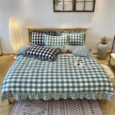 2020新款-全棉色织水洗棉名宿风四件套-实拍图2(詹妮系列) 床单款四件套1.5m(5英尺)床 詹妮-绿