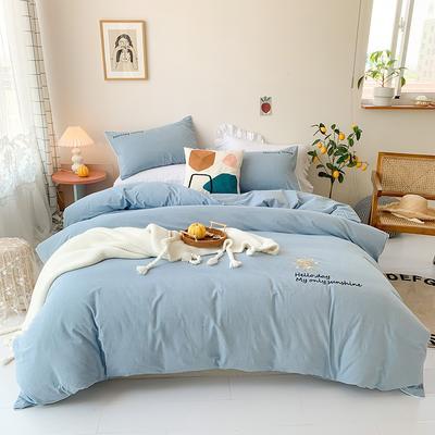 2020新款-纯棉色织水洗棉刺绣款四件套 床单款四件套1.5m(5英尺)床 蓝色