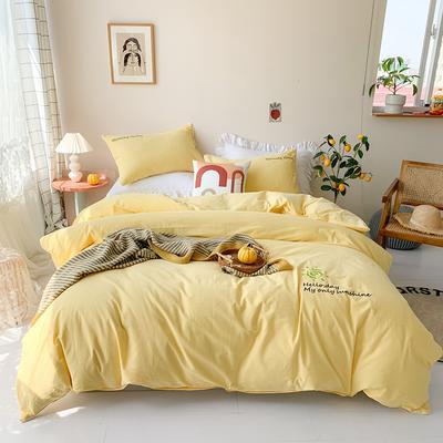 2020新款-纯棉色织水洗棉刺绣款四件套 床单款四件套1.5m(5英尺)床 嫩黄