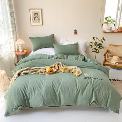 2020新款-纯棉色织水洗棉刺绣款四件套 床单款四件套1.5m(5英尺)床 松绿