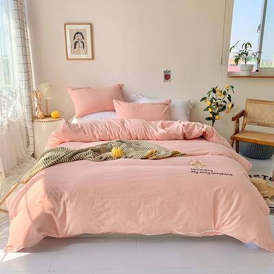 2020新款-纯棉色织水洗棉刺绣款四件套 床单款四件套1.5m(5英尺)床 玉色