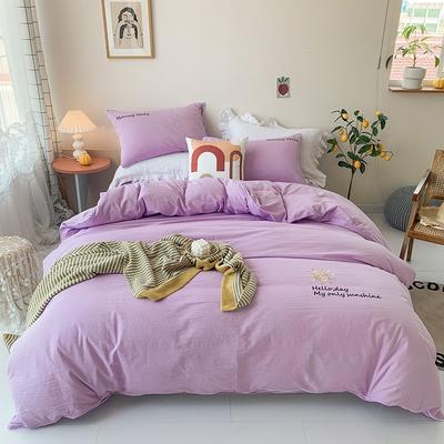 2020新款-纯棉色织水洗棉刺绣款四件套 床单款四件套1.5m(5英尺)床 紫色