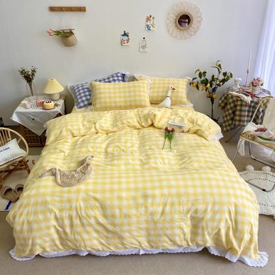 2020新款-蕾丝色织水洗棉实拍图四件套 1.2m床单款三件套 暖阳.黄