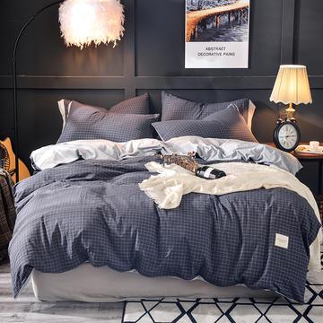 全棉色织水洗棉加水晶绒四件套日式纯色需要大图到门市来拷 1.2m(4英尺)床 白色素色