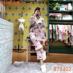 2018新款pink grape夹棉系列女士蝴蝶袖睡衣家居服-粉玫瑰 均码 粉玫瑰