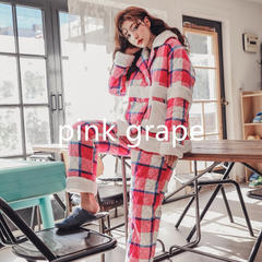 2018新款pink grape夹棉系列女士睡衣家居服-粉白格 均码 粉白格