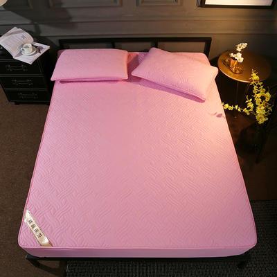 斜纹全棉夹棉床笠 150cmx200cm 粉色