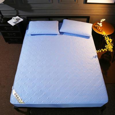 斜纹全棉夹棉床笠 150cmx200cm 天蓝