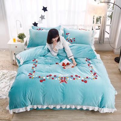 2019新款毛巾绣水晶绒法莱绒魔法绒四件套 1.8m床单款 小草莓-天空蓝