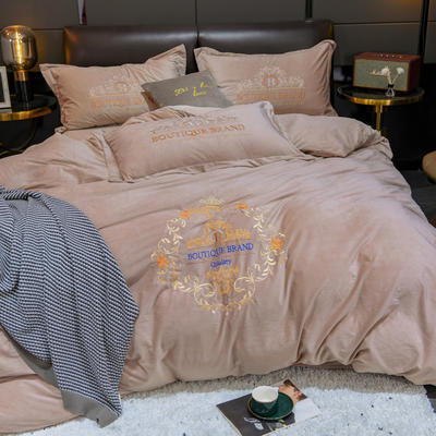 2019新款欧式水晶绒刺绣四件套 1.5m床单款四件套 茱莉亚