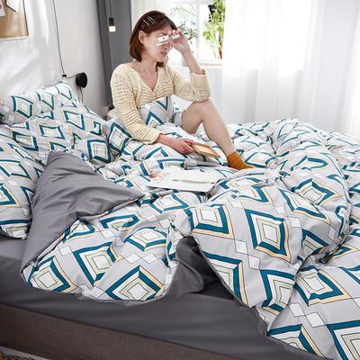 2020新款水洗真丝60天丝棉四件套 1.5m(5英尺)床 几何图案