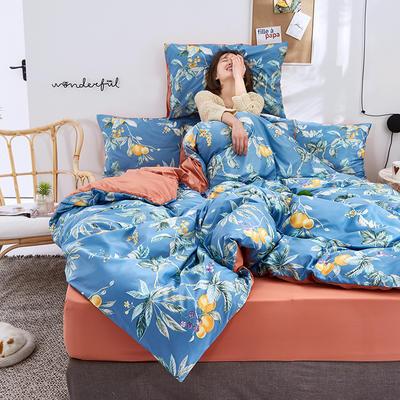 2020新款水洗真丝60天丝棉四件套 1.5m(5英尺)床 枇杷园-蓝