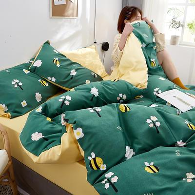 2020新款水洗真丝60天丝棉四件套 1.5m(5英尺)床 小蜜蜂