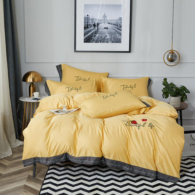 2020新款水洗真丝天丝绸七分甜刺绣宽边系列四件套(棚拍图) 1.8m床单款四件套 七分甜-香槟黄