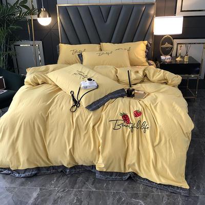 2020新款水洗真丝天丝绸七分甜刺绣宽边系列四件套(实拍图) 1.5m床单款四件套 七分甜-香槟黄