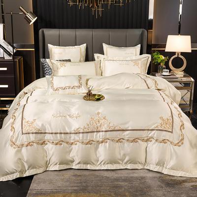2020新款100s全棉水洗真丝刺绣四件套-凯瑞拉系列 1.8m床单款四件套 凯瑞拉-贵族白