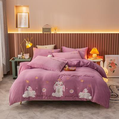 2020新款兔宝贝贴布绣牛奶绒四件套 1.8m床单款四件套 梦幻紫