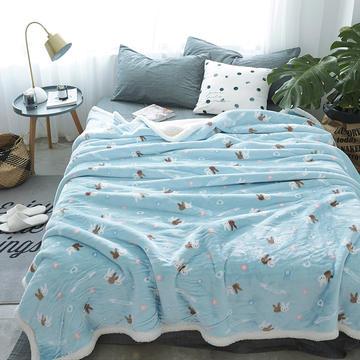 2018新款-复合羊羔绒,金貂绒纯色毛毯,空调毯,学生宿舍用毯,老人盖腿毯 100*120cm 爱丽丝