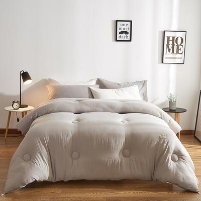 雅斯缦水洗棉纯色基础款冬被 1.5*2.0 3斤 绅士灰