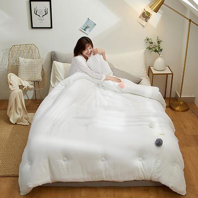 2019新款水洗棉工艺款-可爱毛球被子被芯 1.5*2.0 3斤 可爱毛球-白色