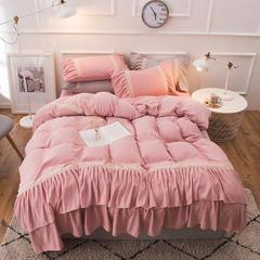 2018新款淑女唯美系列--色织针织棉唯美四件套 1.5m(5英尺)床 粉