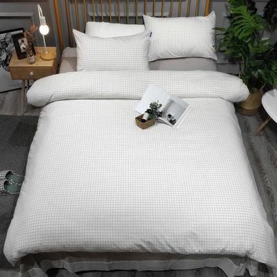 2018新款无印良品全棉色织水洗棉四件套 1.8m床单款 小白格