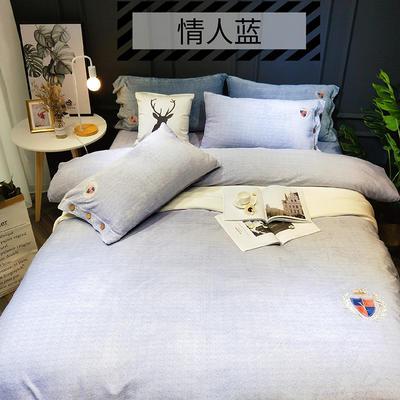 2018新款牛奶绒-四件套 1.8m(6英尺)床 情人蓝