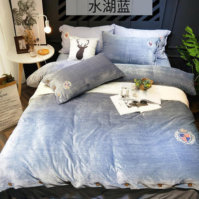 2018新款牛奶绒-四件套 1.5m(5英尺)床 水湖蓝