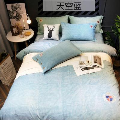 2018新款牛奶绒-四件套 1.8m(6英尺)床 天空蓝