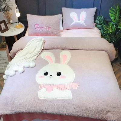 2018新款羊羔绒儿童四件套 1.8m床笠款 兔子