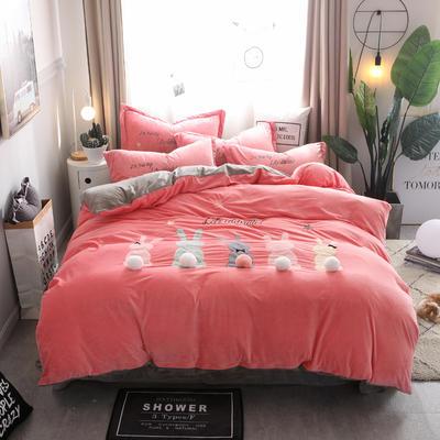 2018新款萌趣小兔宝宝绒工艺四件套 2.0m(6.6英尺)床 1西瓜红