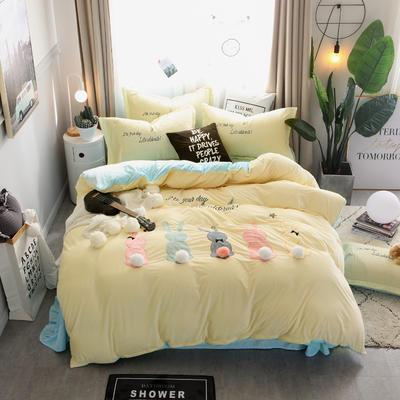 2018新款萌趣小兔宝宝绒工艺四件套 2.0m(6.6英尺)床 3米黄