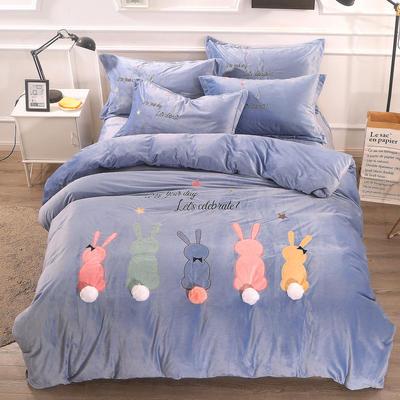 2018新款萌趣小兔宝宝绒工艺四件套 2.0m(6.6英尺)床 4蓝色