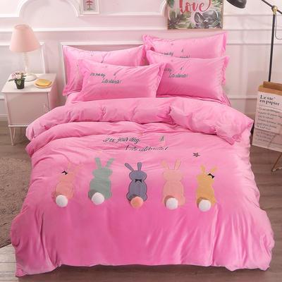 2018新款萌趣小兔宝宝绒工艺四件套 2.0m(6.6英尺)床 5粉色