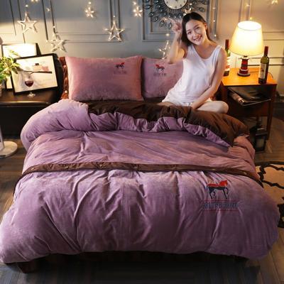 2019新款宝宝绒四件套 1.8m(6英尺)床 情深紫