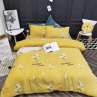 2019新款牛奶绒四件套 1.5m床单款 花语-黄色小雏菊