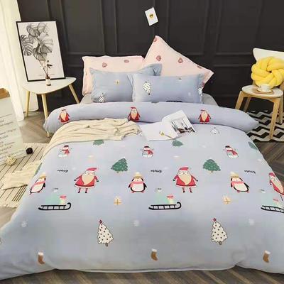 2019新款牛奶绒四件套 1.5m床单款 玛丽-蓝色圣诞节