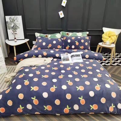 2019新款牛奶绒四件套 1.5m床单款 蜜橙