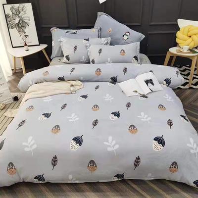 2019新款牛奶绒四件套 1.5m床单款 森林物语-蓝色小树叶