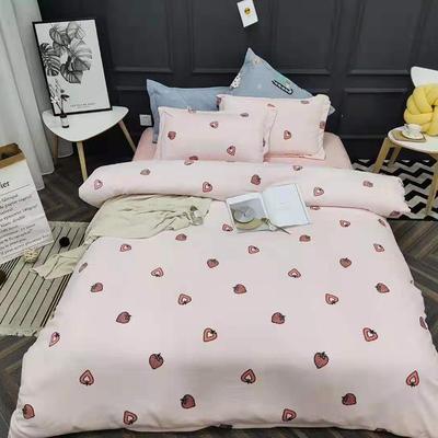 2019新款牛奶绒四件套 1.5m床单款 甜心-粉