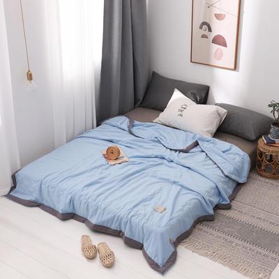 2020新款水洗棉夏被 夏凉被空调被单双人夏季薄被子被芯 150x200cm 淡雅蓝