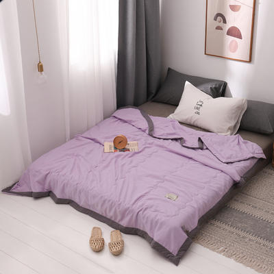 2020新款水洗棉夏被 夏凉被空调被单双人夏季薄被子被芯 150x200cm 丁香紫