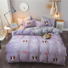 2018新款保暖水晶绒四件套-电子图 1.0m床单款三件套需定做2天左右出货 可爱狗